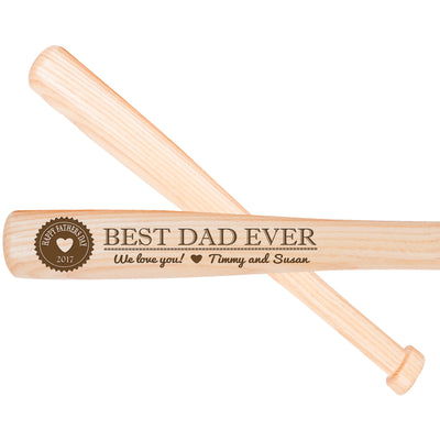 Personalized Engraved Baseball Bats - Inspirational Message Best Dad Ever