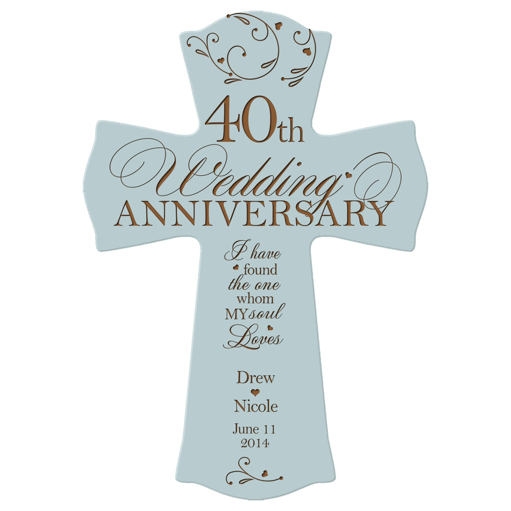 Personalized 40th Wedding Anniversary Wood Wall Cross Gift For