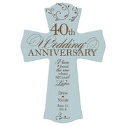 Personalized 40th Anniversary Veneer Wall Cross - My Soul Loves Blue