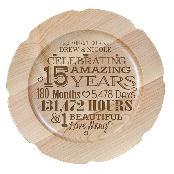 12 Wedding Anniversary Gift Ideas: Personalized 15 Year Anniversary Plate For Couple