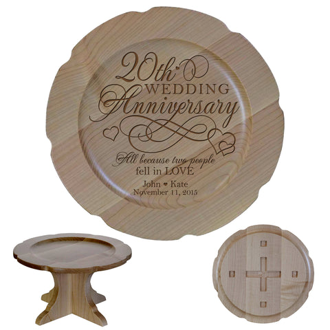 Personalized 20th Anniversary Maple Cake Stands Design 2