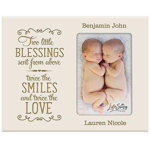 Personalized Newborn Twin Photo Frame - Two Little Blessings.