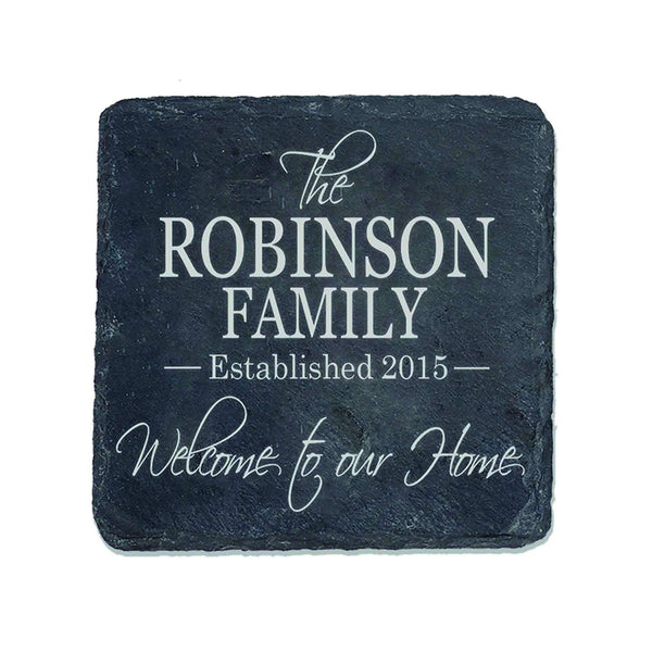 "Personalized Slate Bar Drink Coaster Set 4 pc custom Welcome to Our Home Family established last Name and year Gift for Parents Anniversary 4"" x 4"" by LifeSong Milestones"