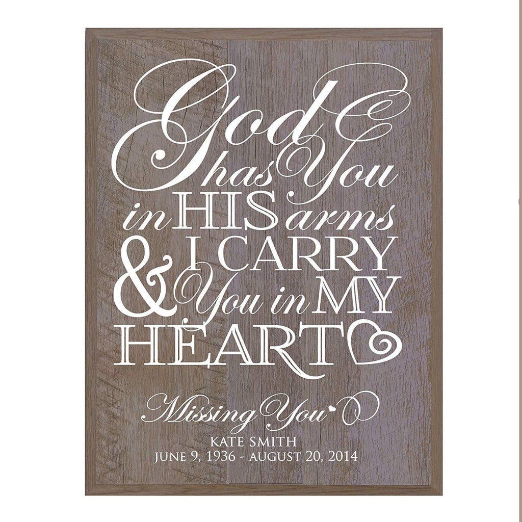 Memorial Sympathy gift ideas wall sign God has You 12 x 15