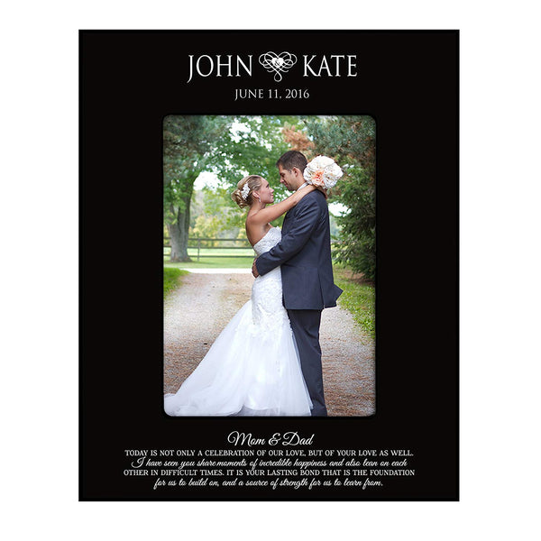 "Wedding Photo Frame Personalized Wedding Gift ""Mom & Dad Celebration of Love Holds 4x6 Photo"