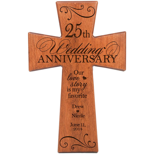 Personalized 25th Wedding Anniversary Cherry Wood Wall Cross Gift for Couple 25 year Anniversary Gifts for Her, Silver Anniversary Gifts for Him Every Love Story Is Beautiful but Ours Is My Favorite