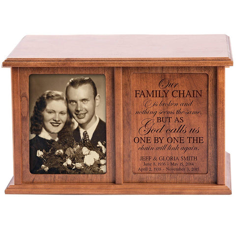 Companion Urns for Humans Ashes Personalized Engraved Double Keepsake Urn for adults for 2 Our Family Chain is Broken God and nothing seems the same Cherry Wood For home or Columbarium Niche