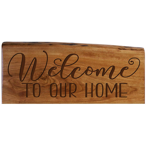 Solid Cherry Wood Live Edge Welcome Sign Engraved Wedding Gift Ideas
