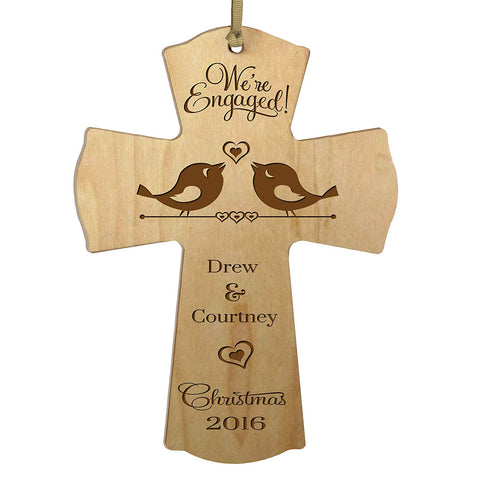 Personalized Christmas Engaged Wall Cross Maple We're Engaged