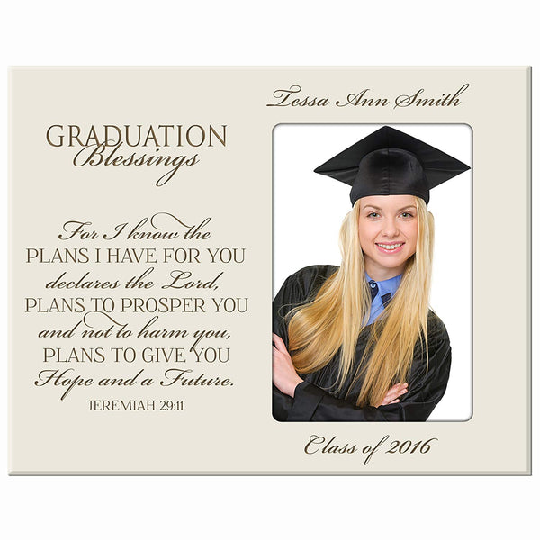 LifeSong Milestones Personalized Graduation picture frame gift for graduate ideas for men and women custom photo frame For I know the plans I have FOR YOU declares the Lord Jeremiah 29:11