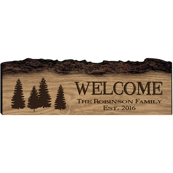 Personalized Engraved Wooden Bark Family Name Sign - Established Year