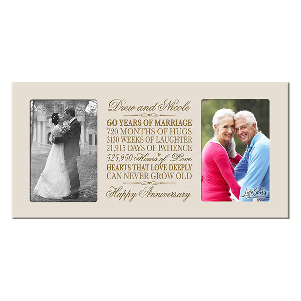 Personalized 60th Anniversary Double Photo Frame - Happy Anniversary Ivory