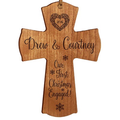 Personalized Christmas Engaged Wall Cross Cherry Our First Christmas