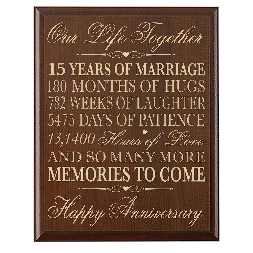 15th Wedding Anniversary Wall Plaque Gift For Couple -Memories To ...