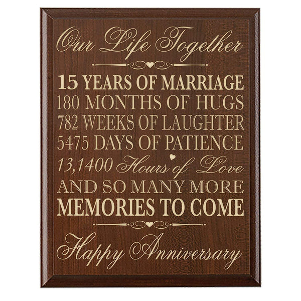 LifeSong Milestones 15th Wedding Anniversary Gift for Couple 15th Anniversary Gifts for Her 15th Wedding Anniversary Gifts for Him Special Dates to Remember By (Cherry)