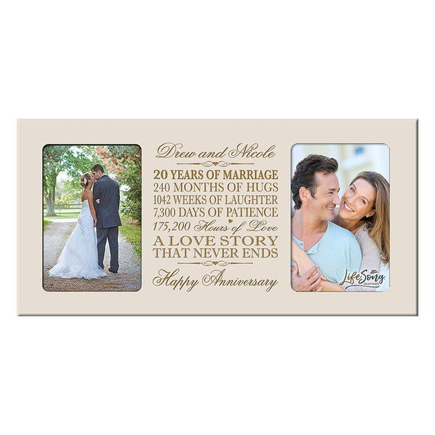 Personalized 20th Anniversary Double Photo Frame - Happy Anniversary Ivory