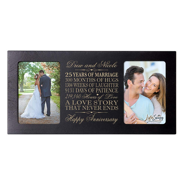 Personalized 25 year anniversary gift her him couple Custom Engraved wedding celebration for Husband wife girlfriend boyfriend photo frame holds two 4x6 photos by LifeSong Milestones