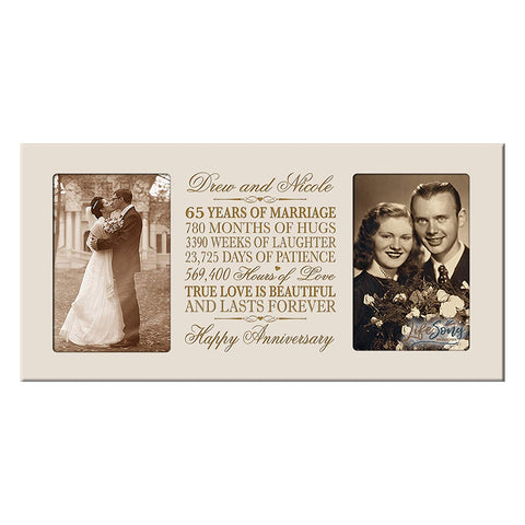 Personalized 65th Anniversary Double Photo Frame - Happy Anniversary Ivory
