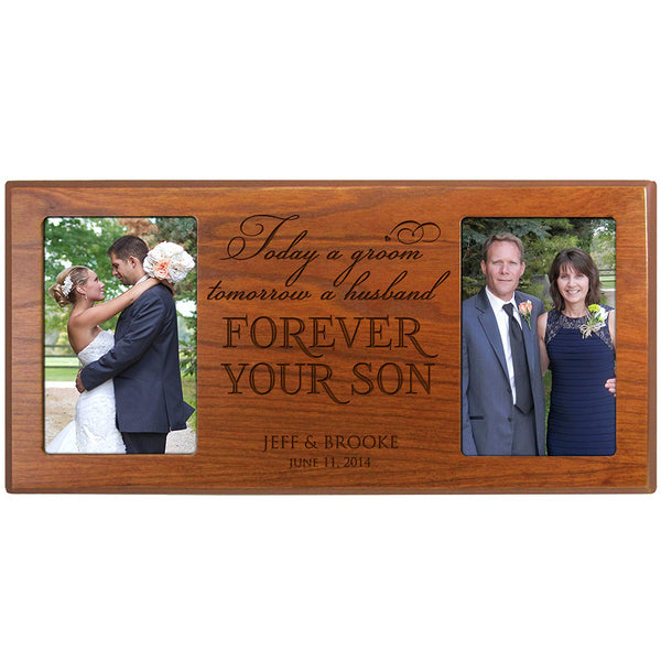 Personalized Wedding Picture Frame custom Made Gift for Bride and Groom Mom and Dad Thank-you Gift Today a Groom Tomorrow a Husband Forever Your Son From LifeSong Milestones