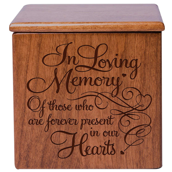 Cremation Urns for Humans- Funeral Urn SMALL Keepsake box for Pets - Memorial Gift for home or Columbarium In Loving Memory of those who are forever present in our hearts LifeSong Milestones (Cherry)