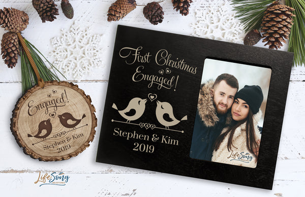 Frame & Ornament Bundle - First Christmas Engaged