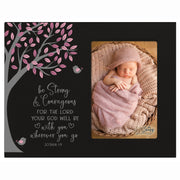 1st Baptism Blessing Photo Frame Gift For Newborn -Strong & Courageous