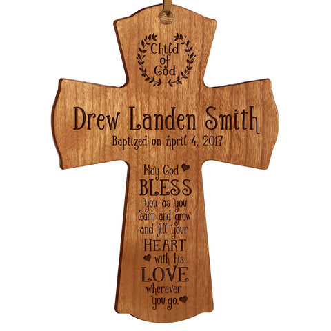Personalized Baptism Cross Ornament - May God Bless Cherry