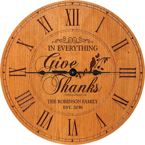 "In Everything Give Thanks Wedding Clock or Anniversary Clock Personalized Wedding Gift Anniversary Gift Housewarming Gift "" Monogram Initial Clock (Cherry)"