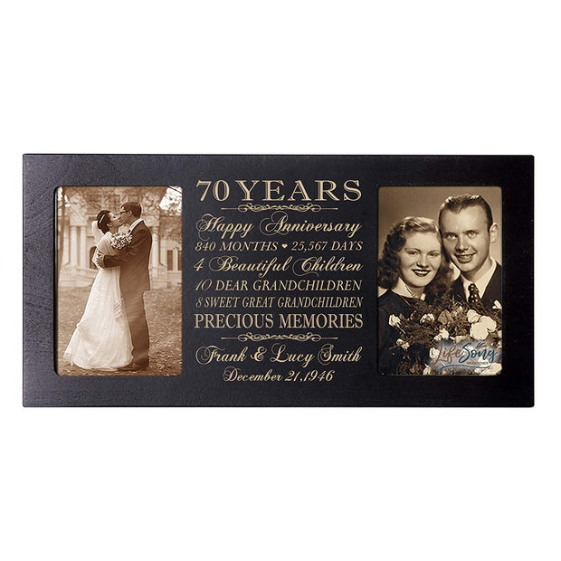 Personalized 70th Anniversary Double Photo Frame - Happy Anniversary
