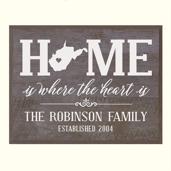 Personalized West Virginia State Home is Where the heart is Sign