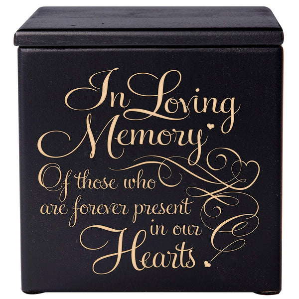 Cremation Urns for Humans- Funeral Urn Keepsake box for Pets - Memorial Gift for home or Columbarium In Loving Memory of those who are forever present in our hearts LifeSong Milestones (Black)