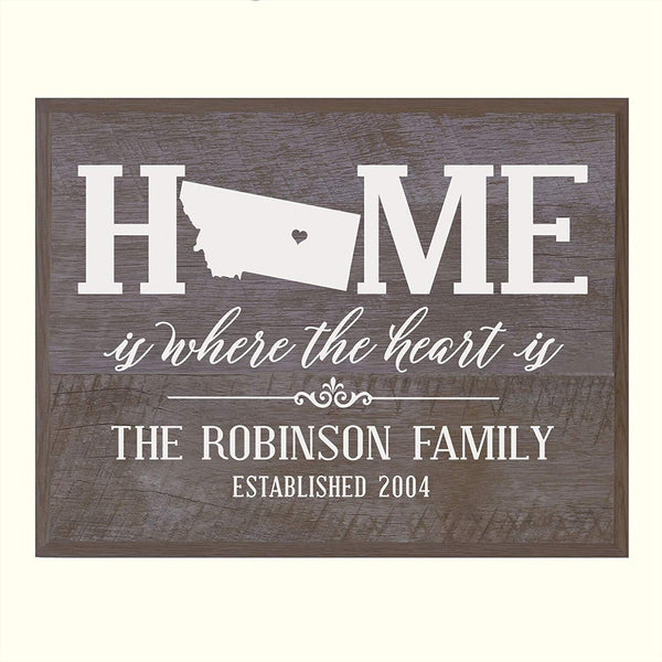 Personalized Montana State Home is Where the heart is Sign