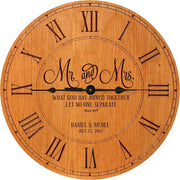 Personalized Cherry Wood Wedding Wall Clock - Mr And Mrs