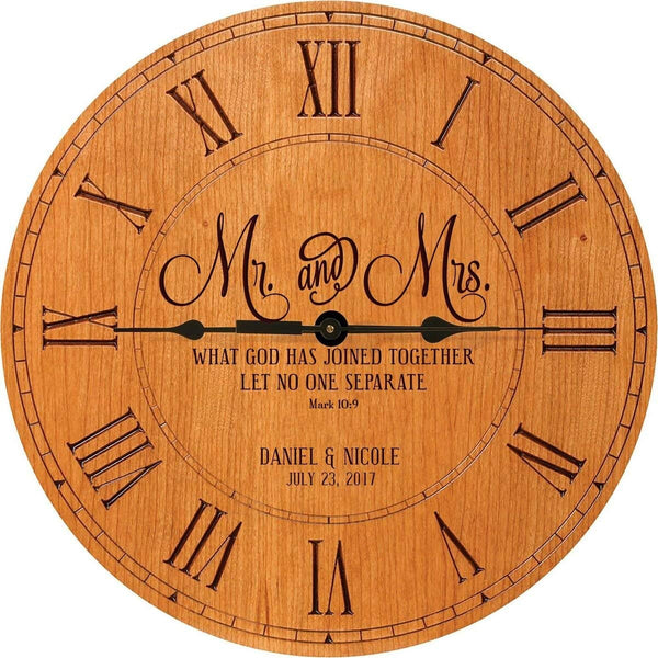 Mr & Mrs Wedding Clock or Anniversary Clock Personalized Wedding Gift Anniversary Gift Housewarming Gift (Cherry)