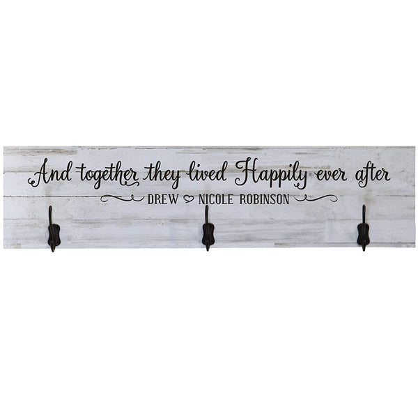 LifeSong Milestones Personalized And Together They Lived Happily Ever After Established Year Wall Signs Last Name for home Wedding, Anniversary, Living Room, Entryway, Kitchen