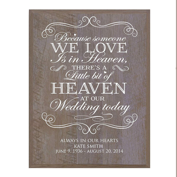 LifeSong Milestones Memorial Sympathy gift ideas wall plaque Because Someone We Love size 12 x 15