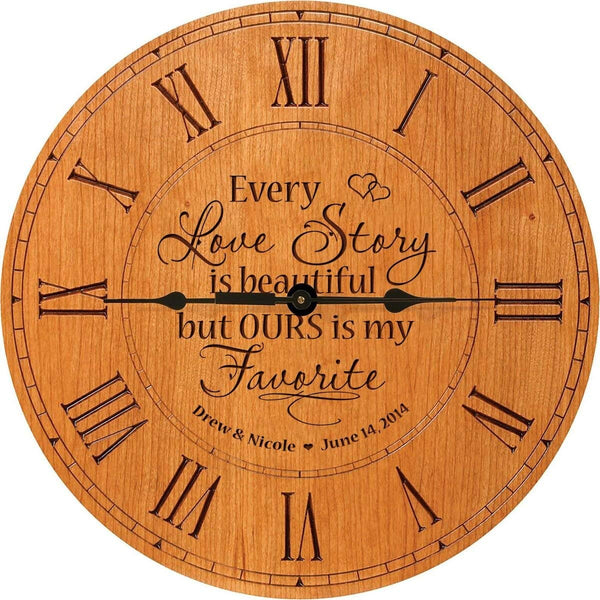 Every Love Story Anniversary Cherry Wood Clock