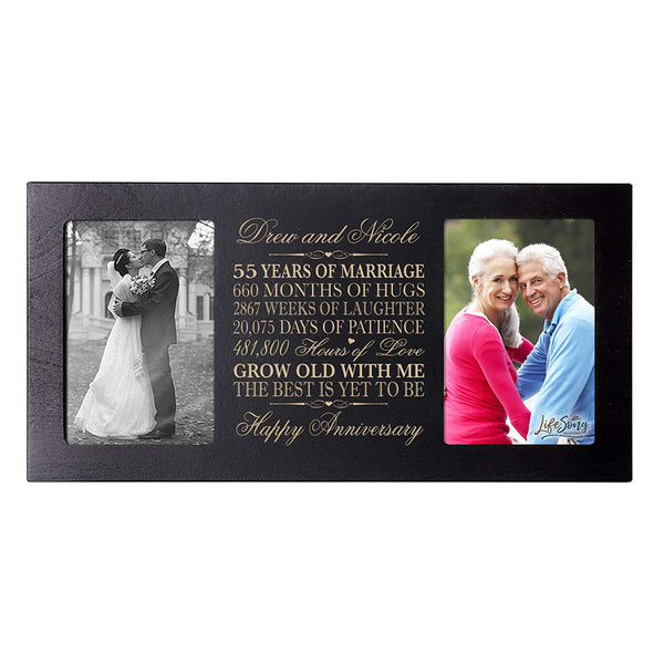 Personalized 55th Anniversary Double Photo Frame - Happy Anniversary Black