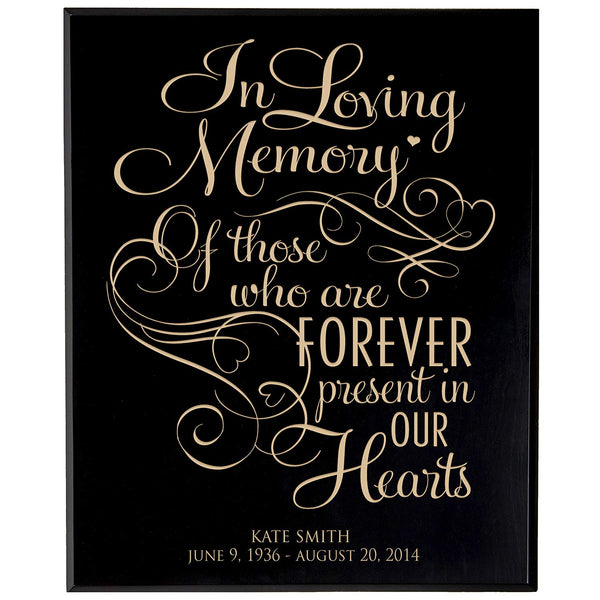 Personalized Wedding Memorial Gift, Sympathy Wall Plaque, In Loving Memory of Those Who Are Forever Present, Custom Engraved Plaque measures 12x15 by LifeSong Milestones USA Made
