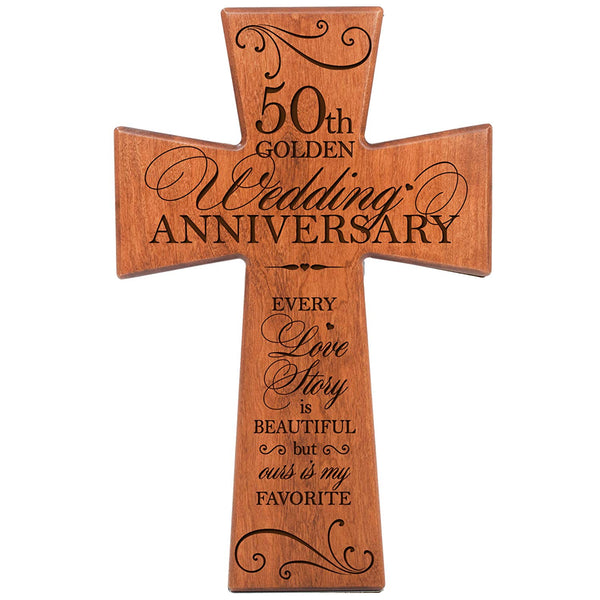 "50th Wedding Anniversary Wood Wall Cross - (Cherry) ""Every Love Story Is Beautiful..."""