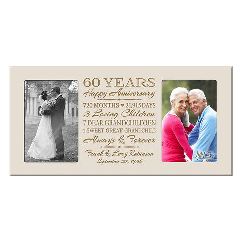 Personalized 65th Year Anniversary Double Photo Frame Ivory