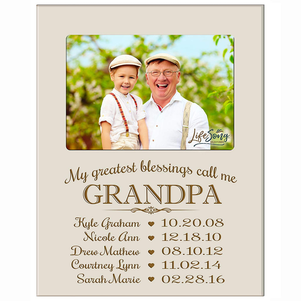 Personalized Gift for Grandpa Picture Frame with children\'s names ...