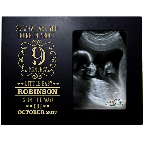 LifeSong Milestones Personalized New Baby Sonogram picture frame for boys and girls Custom engraved Ultrasound photo frame for new parents nana,mimi and grandparents