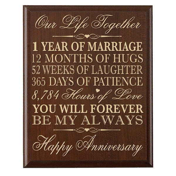 1st Wedding Anniversary Decorative Wall Plaque For Couple Husband wife him her boyfriend girlfriend
