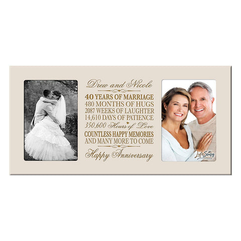 Personalized 40th Anniversary Double Photo Frame - Happy Anniversary Ivory
