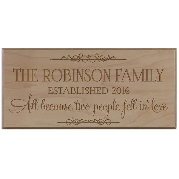 Personalized Family Established Date Sign - All Because Two People (8x16, Black)