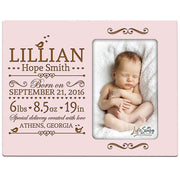 Personalized New Baby Photo Frame - Special Delivery Made With Love Pink