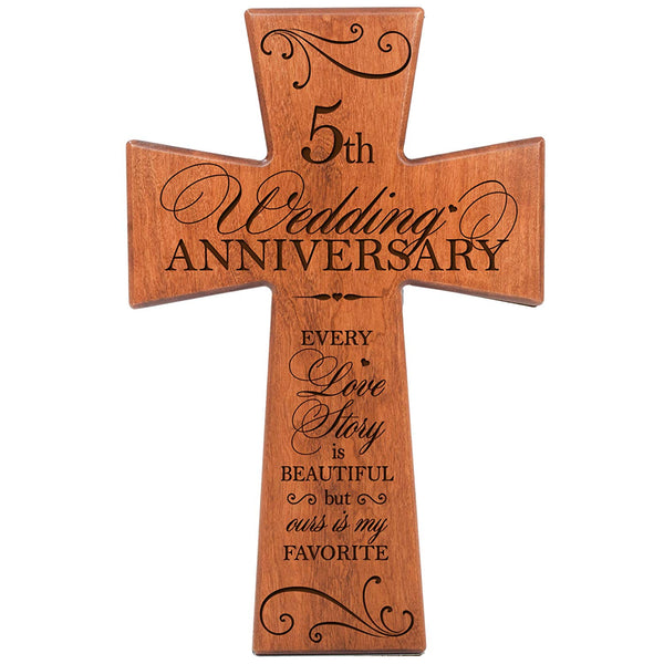 5th Wedding Anniversary Cherry Wood Wall Cross - Every Love Story Is Beautiful