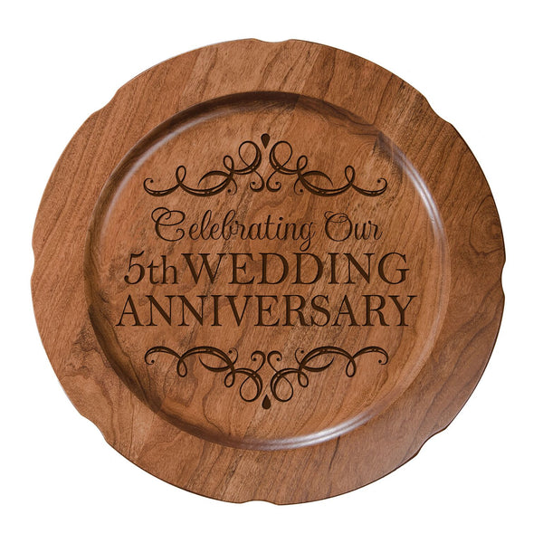 LifeSong Milestones Personalized 5th Happy Wedding Anniversary Decorative Plate - Five Year Gift for Parents Husband Wife Him Her Couple 12""
