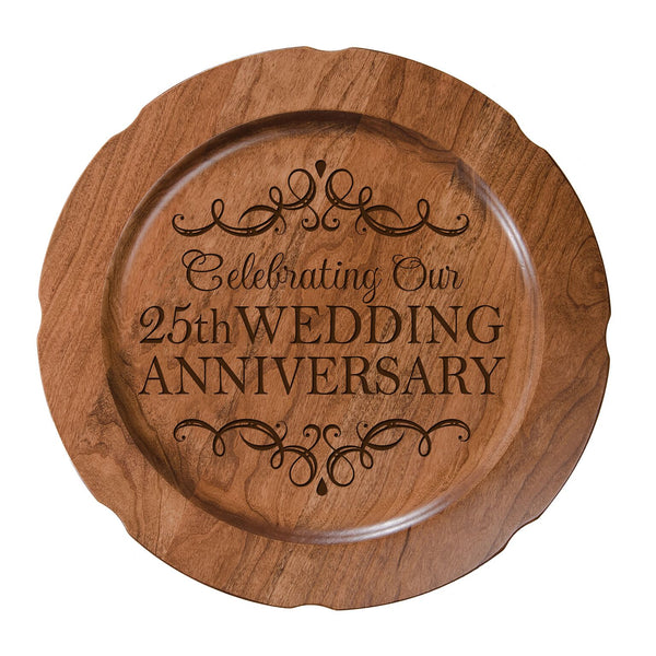 LifeSong Milestones Personalized 25th Happy Wedding Anniversary Decorative Plate - Twenty Five Year Gift for Parents Husband Wife Him Her Couple 12""